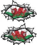 Small handed Oval Ripped Pair Metal Design With Wales Welsh Flag Vinyl Car Sticker 85x50mm Each